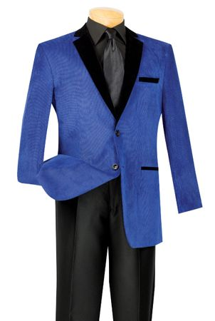 Vinci Blue and Black Velvet Corduroy Blazer B-24 Size Large Final Sale
