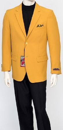 Pacelli Mens Classic Mustard Gold 2 Button Jacket Blair 70027  Size 52 Reg Final Sale
