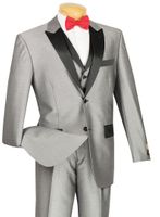 Vinci Mens Shiny Gray 3 Piece Tuxedo Entertainer 23TX-1