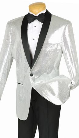 Vinci Mens Silver Sequin Jacket Blazer NBSQ-1 - click to enlarge