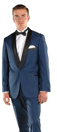 Ferrecci Men's Designer Style Slim Blue 1 Button Tuxedo Falls