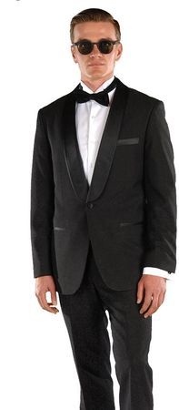 Ferrecci Men's Slim Fitted Black 1 Button Tuxedo Designer Style Falls