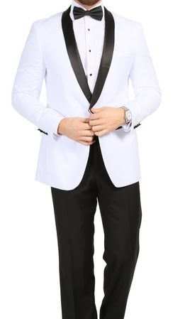 Ferrecci Men's White Black Collar Designer Slim Fit Tux Reno