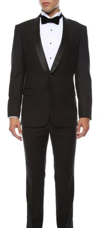 Slim Fit Tuxedo Black Men's 1 Button Ferrecci Reno