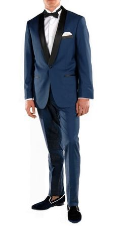 Ferrecci Blue Slim Fit Tuxedo for Men Shawl Collar Falls