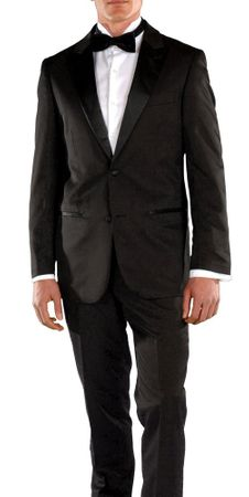Ferrecci Slim Fit Tuxedo for Men Black Peak Lapel Crisp