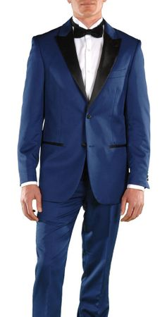 Ferrecci Slim Fit Tuxedos for Men Dark Blue Peak Lapel Crisp