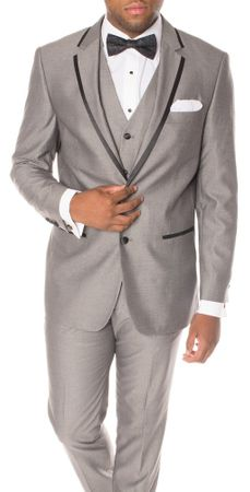 Ferrecci Mens Slim Fit Gray Black Trim Tuxedo Suit Celio