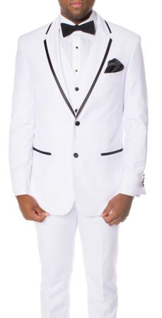 Ferrecci Mens Slim Fit Tuxedos White Black 3 Piece Celio