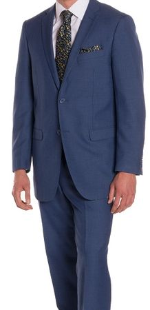 Ferrecci Men's Suits  2 Button Blue Regular Fit Flat Front Pants Ford