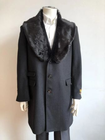Mens Fur Collar Wool Car Coat Black Car-Coat Alberto IS - click to enlarge