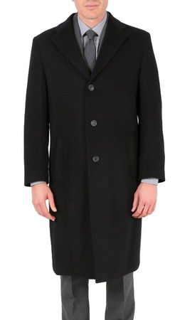 Ferrecci Mens Wool Overcoat Gray Stripe 3 Button Top Coat Creed - click to enlarge