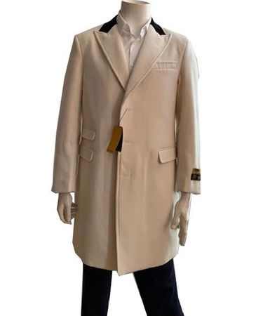 Men's Wool Car Coat Off White Chesterfield Alberto Peaky-03 - click to enlarge