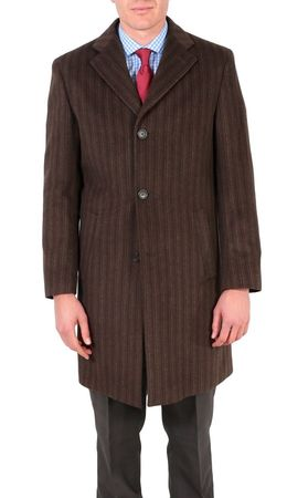 Ferrecci Mens Wool Overcoat Brown Stripe 3 Button Car Coat Marc - click to enlarge
