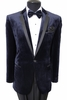Tazio Mens Navy Velvet Slim Fit Evening Jacket MJ142S