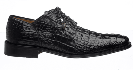 Alligator Shoes Ferrini Mens Black Hornback 226 - click to enlarge