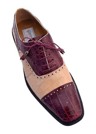 Ferrini Men's Burgundy Alligator Ostrich Cap Toe Shoes 203/528