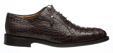 Mens Alligator Shoes by Ferrini Chocolate Brown Hornback 227 - click to enlarge
