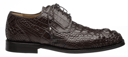 Mens Alligator Shoes by Ferrini Brown Hornback Square Toe 228 - click to enlarge