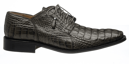 Mens Alligator Shoes by Ferrini Elephant Grey Lace up 226