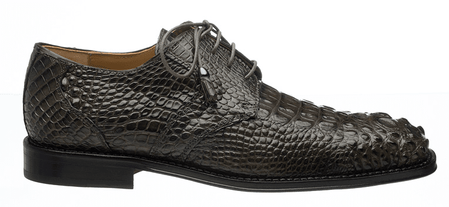 Mens Alligator Shoes by Ferrini Grey Hornback Square Toe 228