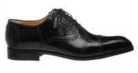 Ferrini Men's Italian Black Alligator Belly Cap Toe Shoes 3922