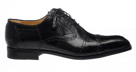 Ferrini Men's Italian Black Alligator Belly Cap Toe Shoes 3922 - click to enlarge