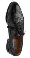 Mens Italian Alligator Shoes by Ferrini Black Wingtip 3673
