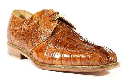 Belvedere Columbo Brandy Crocodile Horn-Back Shoes Size 11.5 Final Sale