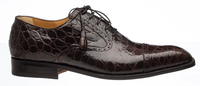 Ferrini Men's Italian Chocolate Alligator Belly Cap Toe Shoes 3922