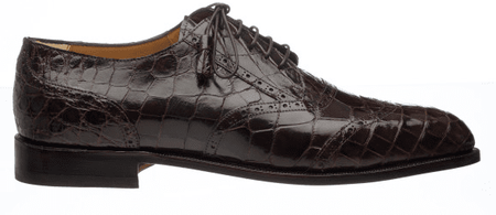 Mens Italian Alligator Shoes by Ferrini Brown Wingtip 3673 - click to enlarge