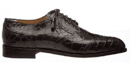 Mens Italian Alligator Shoes by Ferrini Brown Wingtip 3673 Size 11 Final Sale