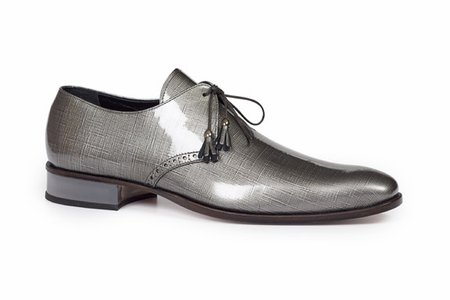 Mauri Shoes Mens Shiny Gray Patent Lace Ups 4801 Size 10 Final Sale - click to enlarge