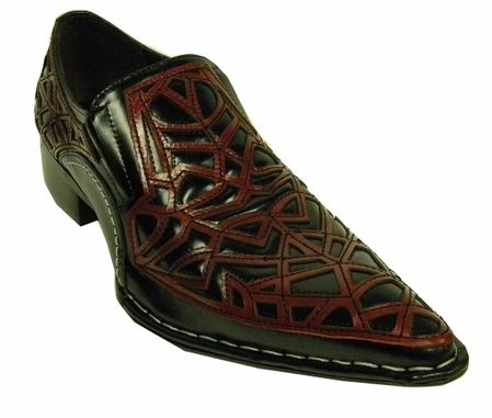 Fiesso Black Red Leather Cutout Pointy Toe Shoes 6741 IS
