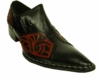 Fiesso Black Red Leather Pointy Toe Slip On Shoes 6740 IS