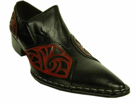 Fiesso Black Red Leather Pointy Toe Slip On Shoes 6740 Size 8