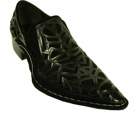 Fiesso Black Suede Cutout Pointy Toe Shoes 6741 IS