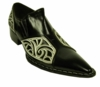 Fiesso Black White Pointy Toe Leather Shoes 6740 IS
