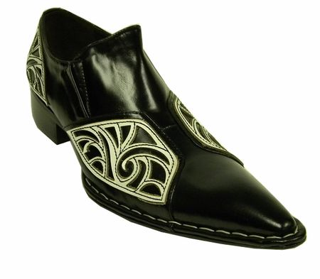 Fiesso Black White Pointy Toe Leather Shoes 6740 Size 8