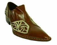 Fiesso Brown Fancy Pointy Toe Leather Shoes 6740 IS
