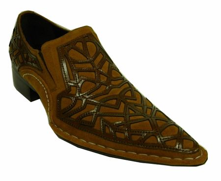 Fiesso Brown Suede Cutout Pointy Toe Shoes 6741 Size 8 - click to enlarge