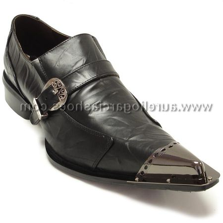 Fiesso Mens Black Leather Metal Toe Slip On Shoes 6053 IS - click to enlarge