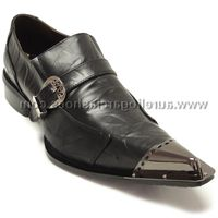 Fiesso Mens Black Leather Metal Toe Slip On Shoes 6053 IS