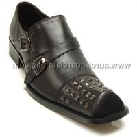 Fiesso Mens Black Leather Studded Toe Slip On Shoes 6604 IS