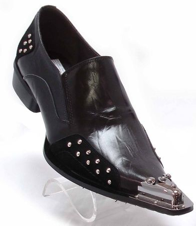 Fiesso Mens Black Pointy Metal Toe Club Shoes 6762 - click to enlarge