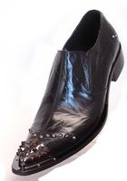 Fiesso Mens Black Pointy Metal Toe Slip On Shoes 6844 IS