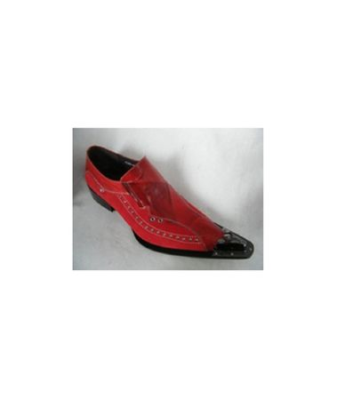 Zota Mens Red Pointy Toe Studded Trim Slip On G8328-16 Size 11 Final Sale - click to enlarge
