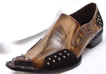 Fiesso Mens Brown Pointy Metal Toe Club Shoes 6762 IS - click to enlarge
