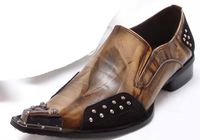 Fiesso Mens Brown Pointy Metal Toe Club Shoes 6762 IS