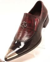 Fiesso Mens Black Red Pointy Metal Toe Club Shoes 6784 IS